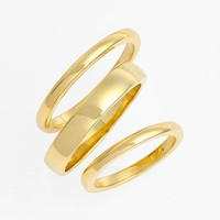 Ariella Collection Band Rings & Midi Ring (Set of 3) | Nordstrom