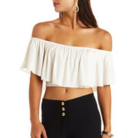 OFF-THE-SHOULDER FLOUNCE GLITTER CROP TOP