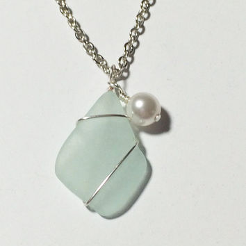 Sea Glass Necklace Ocean Jewelry Beach Jewelry Glass Pearl Friendship Gift Womans Necklace Gift Idea