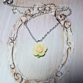 Flower Necklace Bridesmaid Jewelry Cream Cabochon Friendship Gift Prom Wedding Flower Jewelry Bridesmaid Gift Teacher Appreciation