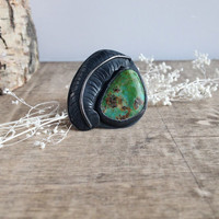 Natural Turquoise ERing // Moulting Ring // King's Manassa Turquoise // Sterling Silver size 7.5 - 8