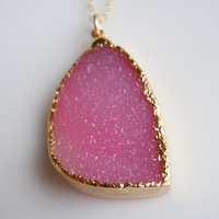 Druzy Necklace in Shimmering Pink by 443Jewelry on Etsy