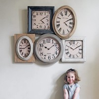 Wooden Five City Wall Clock