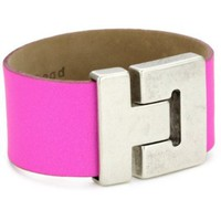 Streets Ahead Silver Antique Closures with Pink Wide Clean Cuff Bracelet - designer shoes, handbags, jewelry, watches, and fashion accessories | endless.com