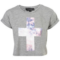Petite Cosmic Cross Crop Tee - New In This Week  - New In  - Topshop