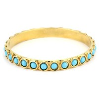 Lisa Stewart 14K Turquoise-Color Glass Stones Gold Plated Bangle Bracelet