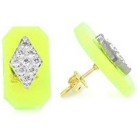 "Sandy Hyun ""Deco Lucite"" Neon Green Lucite Crystal Detail with Post Earrings"