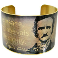 Edgar Allan POE brass cuff bracelet Quote by UniqueArtPendants