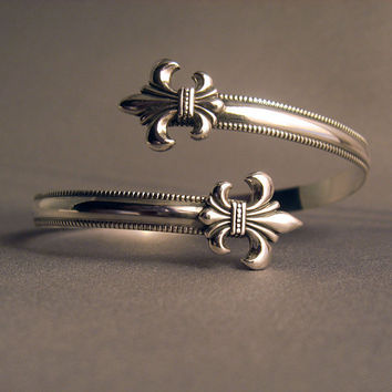 $85.00 Sterling Silver 925 Fleur de lis wrap cuff by thesilverart on Etsy