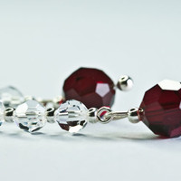 Swarovski crystal earrings / dangle crystal deep red by DevikaBox