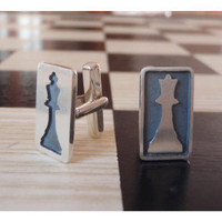 CheckMate Cuff Links  Sterling Silver 925 by BlackStarSA on Etsy