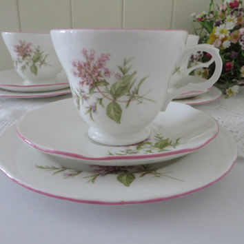 Crown Trent vintage 1960's  pink and white tea trio