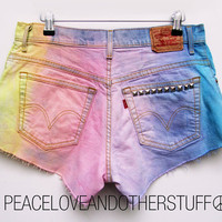 Reworked RAINBOW Tie Dye Studded LEVI High Waist Shorts by peaceloveandotherstuff
