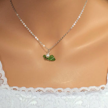Green Sea Glass Necklace Peridot Jewelry August Birthday Gift Ocean Jewelry Beach Jewelry Friendship Gift
