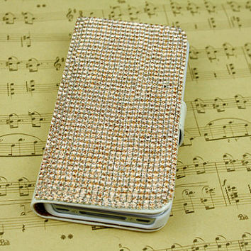 Rhinestone phone case bling iphone 4s case iphone 5s case iphone 5c case leather galaxy note2 note3 s3 s4 case iphone wallet case flip case