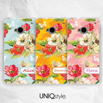 Personalized custom name monogram phone case for HTC one m7, m8, htc one mini, one max - Nokia lumia 520,920,1520 - floral flower case - E13