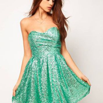 TFNC | TFNC Sequin Dress Structured Bandeau Full Layered Prom Skirt at ASOS