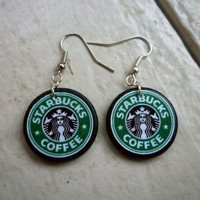Starbucks To Go. Starbucks Earrings. Coffee Earrings. Green Earrings. Ephemera Earrings. Wood Tile. | Luulla