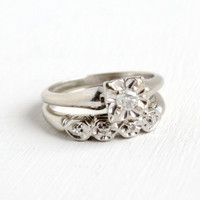 Vintage 14k White Gold Diamond Engagement Ring and Wedding Band Set- 1940s Mid-Century Size 6 1/2 Wedding Fine Jewelry