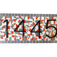 Gray and Orange Outdoor Mosaic Address Sign
