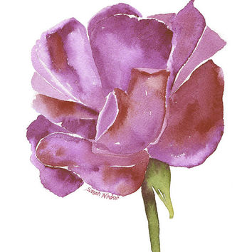 Purple Rose Watercolor Painting - Giclee Print - 8 x 10 - Floral - Flower