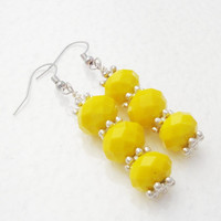 CIJ ChristmasInJuly Sale Yellow Crystal Silver Stacked Dangles Long Earrings, Anniversary, Birthday Gift Under 20
