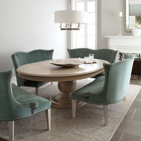 "Jeff Zimmerman Collection by Key City ""Prudence"" Pedestal Dining Table & ""Brumley"" Velvet Banquette - Neiman Marcus"