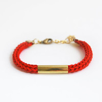 Red bracelet with tube, knit cord bracelet, tube bracelet, red cord bracelet with star charm
