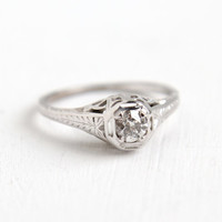 Antique 18k White Gold Art Deco 1/5 Carat Solitaire Diamond Ring- Size 7 Vintage Filigree 1920s Fine Engagement Bridal Jewelry