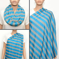 Grey  and Blue Stripes Nursing Scarf -  Nursing Cover - Nursing Cover Scarf -  Nursing Infinity Scarf - Infinity Scarf - Breastfeeding Cover