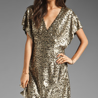 Ladakh Felicity Sequin Dress in Matte Gold