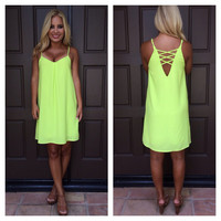 Neon City Nights V-Back Dress - Lime Green