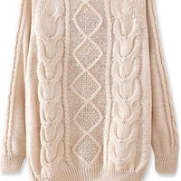 Warm Diamond Cable Sweater