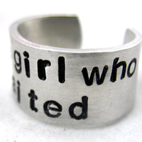 Doctor Who Ring The Girl Who Waited Hand Stamped by oneeyedfox