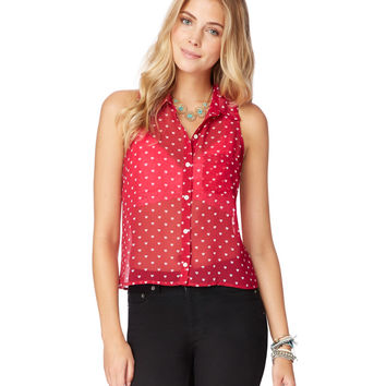 Sheer Sleeveless Heart Top