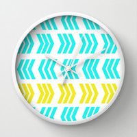 Sunshine Pop and Aqua Zig Zag Wall Clock by Lisa Argyropoulos | Society6