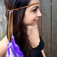 Feather Leather Headband - Purple Feather Headband - Hippie - Tribal - Boho - Festivals - Raves - Hair Accessories