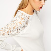 ASOS Jumper Dress With Lace Insert
