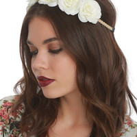 LOVEsick White Rose Stretchy Headband
