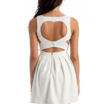 White Mini Dress - White Open Heart Dress | UsTrendy