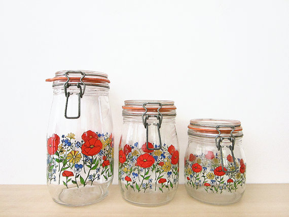 vintage bright floral canister set arc of from hemlines on