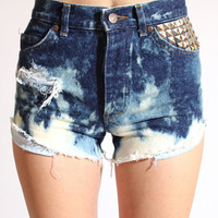 Studded Acid Wash Denim Shorts by theSTEELage on Etsy