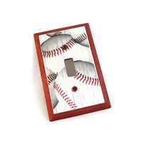 Baseball Room Decor Wood Switch Plate by HookUUpCustomCrafts