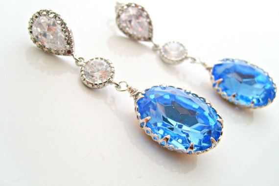 wedding jewelryocean blue crystal oval dangle earrings by xxyz
