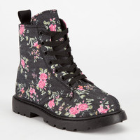 Simply Petals Girls Combat Boots Denim/Pink  In Sizes