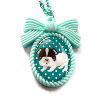 Mint Green Dog Necklace Kawaii Cameo by KitschBitchJewellery