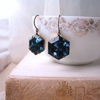 Hex on You earrings vintage midnight blue by shadowjewels on Etsy
