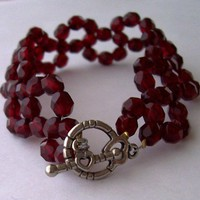 Cranberry Red Swarovski Beaded Bracelet | kathisewnsew - Jewelry on ArtFire