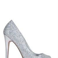 Small Platform Peep Toe Pump with Glitter