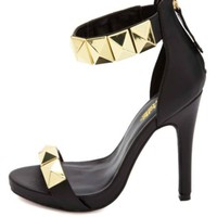 Super-Studded Single Strap Heels by Charlotte Russe - Black